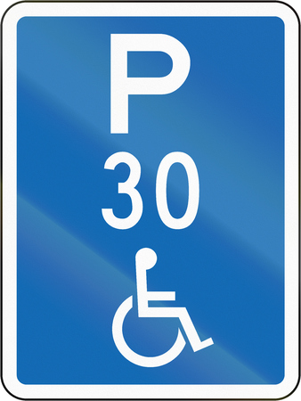 disabled parking sign: New Zealand road sign - This parking space is reserved for disabled persons, with time limit.
