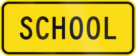 auxiliary: New Zealand road sign - School zone. Stock Photo