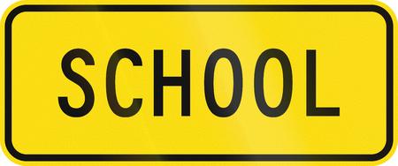 new zealand word: New Zealand road sign - School zone. Stock Photo