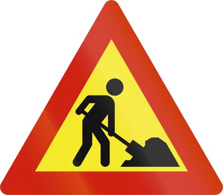 road warning sign: Norwegian road warning sign - Workers in road ahead.