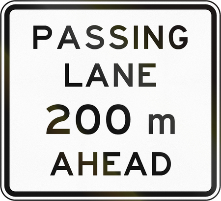 New Zealand road sign - Passing lane ahead in 200 metres.