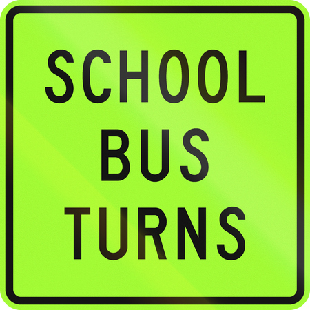 auxiliary: New Zealand road sign - School bus turns, fluorescent version.