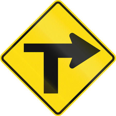 junction: New Zealand road sign - T Junction controlled (priority turns right).