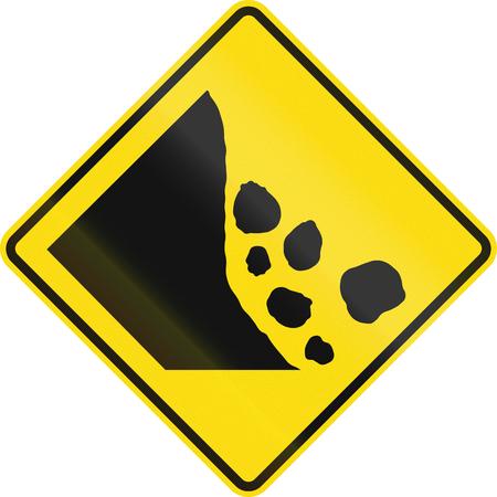 debris: New Zealand road sign - Falling rocks or debris on left.