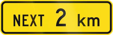 kilometres: New Zealand road sign - Sign effective for the next 2 kilometres.