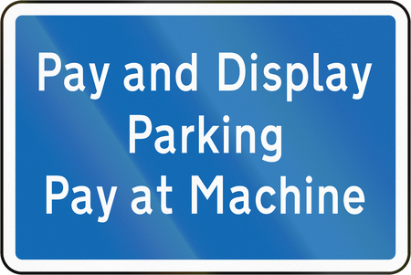 auxiliary: New Zealand road sign - Pay and Display parking zone.