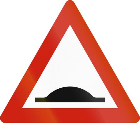 Norwegian road warning sign - Road bump.