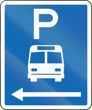 time limit: New Zealand road sign - Parking zone for buses with no time limit, on the left of this sign.