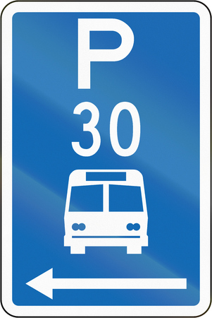 time limit: New Zealand road sign - Parking zone for buses with time limit, on the left of this sign. Stock Photo