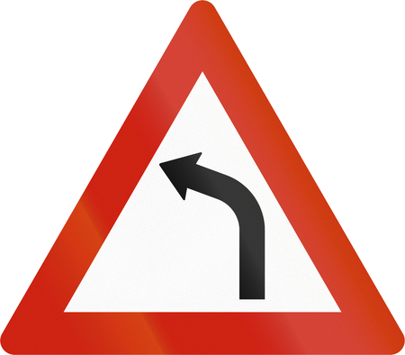 curve ahead sign: Norwegian road warning sign - Curve ahead.