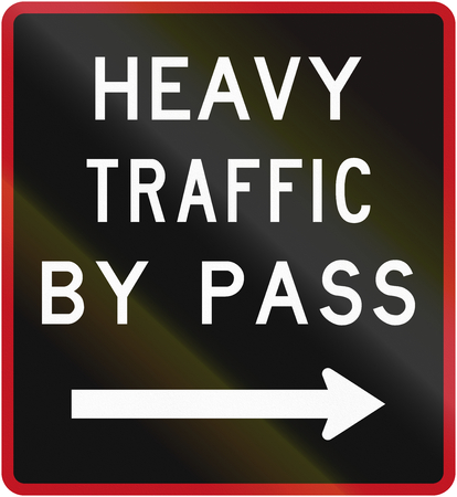 bypass: Old version of the New Zealand road sign - Bypass for heavy vehicles, to right.