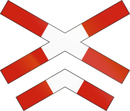 road warning sign: Norwegian road warning sign - Crossbuck for multi-track level crossing.