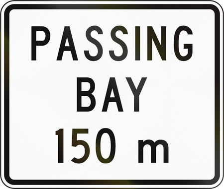 passing the road: New Zealand road sign - Passing bay ahead in 150 metres.