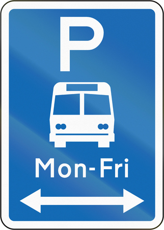 workday: New Zealand road sign - Bus parking with non-standard hours.