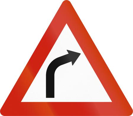 road warning sign: Norwegian road warning sign - Curve ahead.