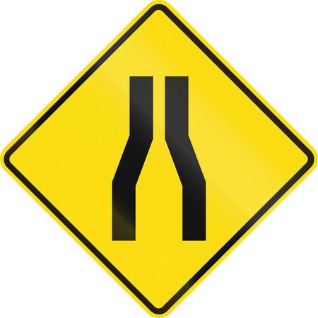 narrow street: New Zealand road sign - Road narrows ahead on both sides.