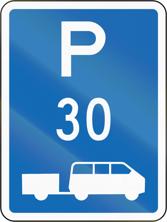 time limit: New Zealand road sign - Parking zone for shuttles with time limit.