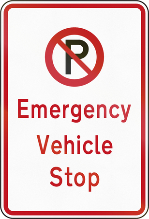 emergency vehicle: New Zealand road sign - Emergency vehicle stop.