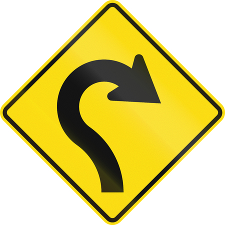 reverse: New Zealand road sign - Reverse curve with decreasing radii, to right.