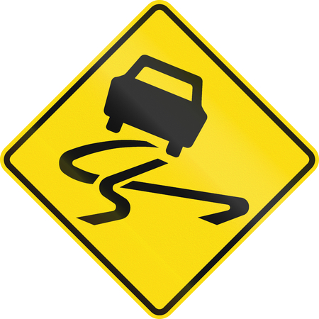 road surface: New Zealand road sign - Slippery road surface.