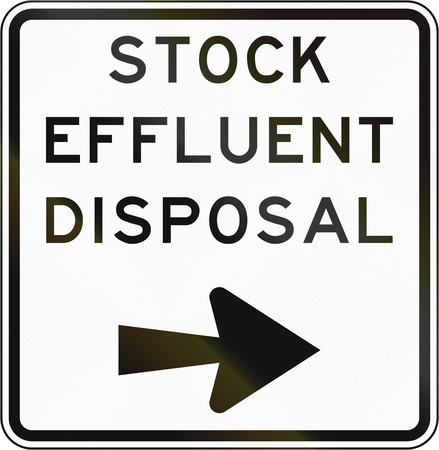 disposal: New Zealand road sign - Stock effluent disposal point, turn right.