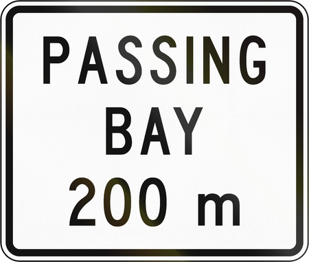 passing the road: New Zealand road sign - Passing bay ahead in 200 metres.