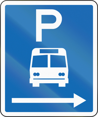 time limit: New Zealand road sign - Parking zone for buses with no time limit, on the right of this sign.
