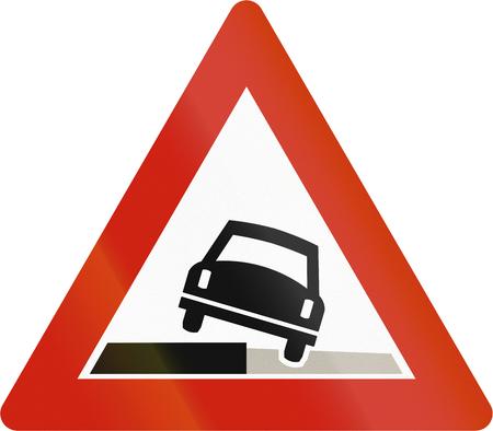 road shoulder: Norwegian road warning sign - Soft shoulder. Stock Photo