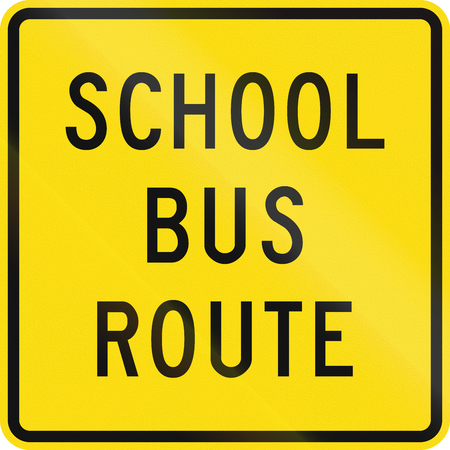new zealand word: New Zealand road sign - School bus route. Stock Photo