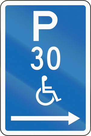 physical impairment: New Zealand road sign - Parking zone reserved for disabled persons with time limit, on the right of this sign.