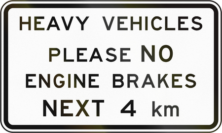advised: New Zealand road sign - Heavy vehicles advised not to use engine brakes for the next 4 kilometres.