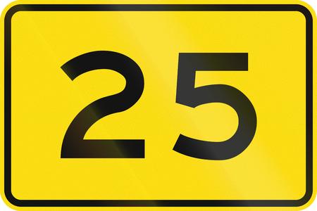 advisory: New Zealand road sign - Advisory speed of 25 kmh.