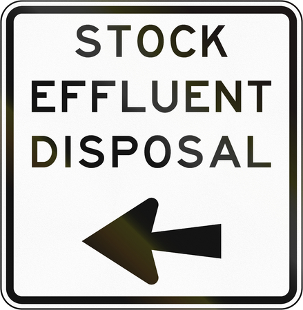 turn left: New Zealand road sign - Stock effluent disposal point, turn left. Stock Photo