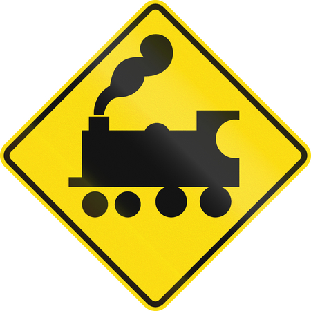 uncontrolled: New Zealand road sign - Uncontrolled railway crossing ahead.