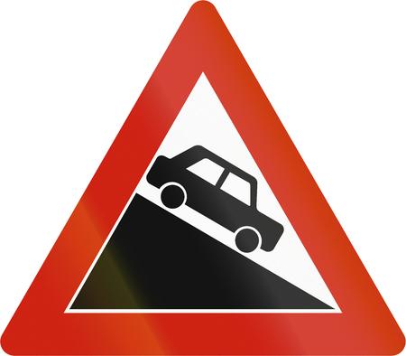steep by steep: Norwegian road warning sign - Steep downhill grade.