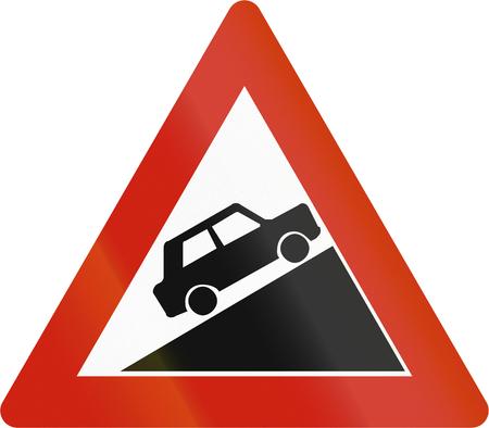 grade: Norwegian road warning sign - Steep uphill grade.