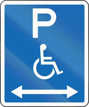 physical impairment: New Zealand road sign - Parking zone reserved for disabled persons with no time limit, on both sides of this sign. Stock Photo