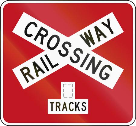 multiple: New Zealand road sign PW-14b - Railway crossbuck (multiple tracks).