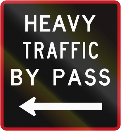 bypass: Old version of the New Zealand road sign - Bypass for heavy vehicles, to left. Stock Photo