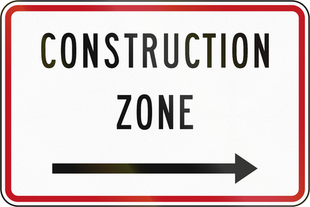new zealand word: New Zealand road sign - Construction zone (with arrow pointing right). Stock Photo
