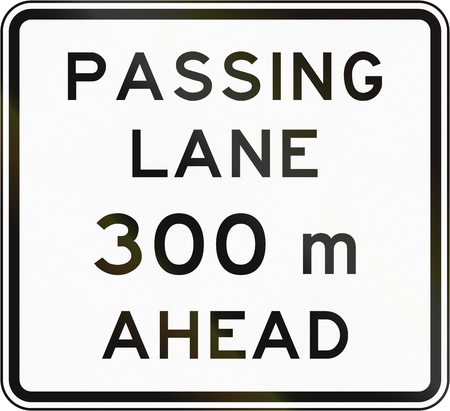 passing the road: New Zealand road sign - Passling lane ahead in 300 metres.