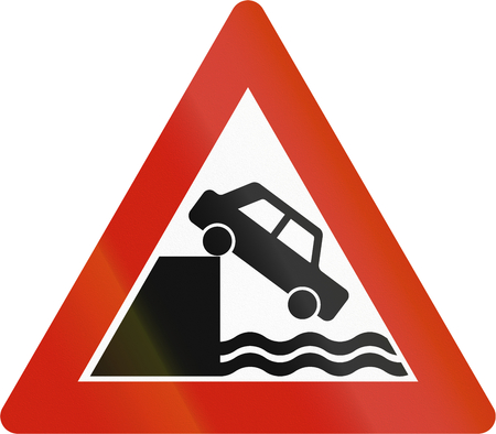 road warning sign: Norwegian road warning sign - Quayside or edge of water. Stock Photo