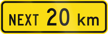 number plate: New Zealand road sign - Sign effective for the next 20 kilometres.