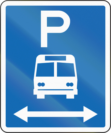 frontal view: New Zealand road sign - Parking zone for buses with no time limit, on both sides of this sign.