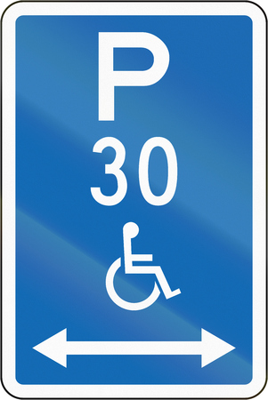 physical impairment: New Zealand road sign - Parking zone reserved for disabled persons with time limit, on both sides of this sign.