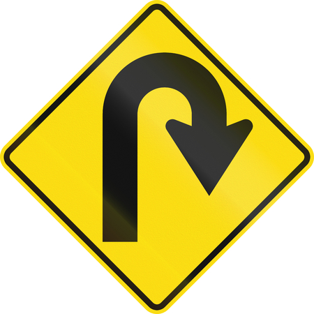 arrow sign: New Zealand road sign - Curve greater than 120 degrees to right.