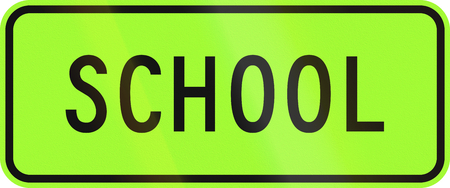 children only: New Zealand road sign - School zone, fluorescent green version.