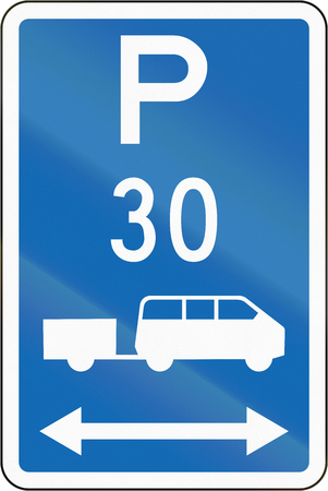 time limit: New Zealand road sign - Parking zone for shuttles with time limit, on both sides of this sign.
