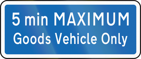 new zealand word: New Zealand road sign - Parking for goods vehicles only, 5 minute maximum.