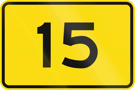 advisory: New Zealand road sign - Advisory speed of 15 kmh. Stock Photo